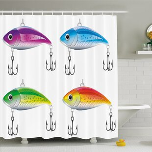 Collection of Lures in Trout Shape Trap for Sea Mammals Creatures Picture Shower Curtain Set