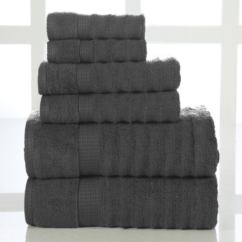The Twillery Co Woolf Ribbed 6 Piece 100 Cotton Towel Set