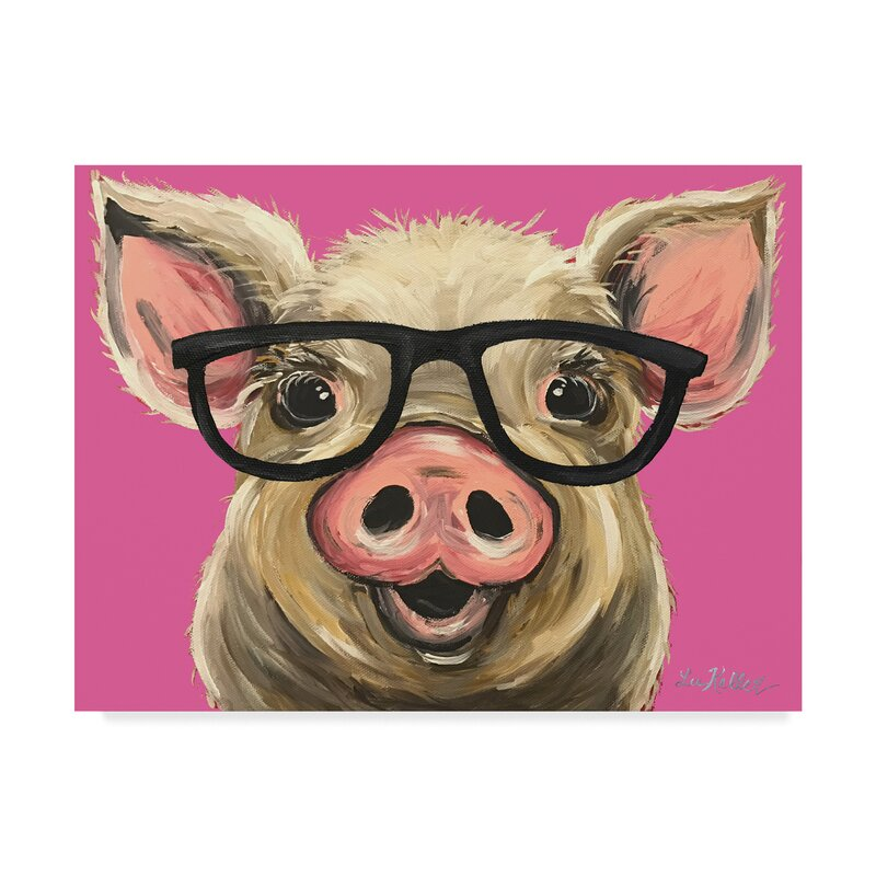 Wrought Studio Pig Posey Glasses Pink Acrylic Painting Print On