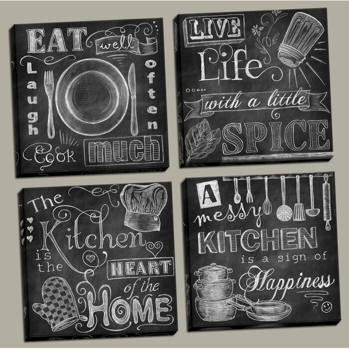 Beautiful Fun Chalkboard Kitchen Signs Messy Kitchen Heart Of The Home Spice Of Life And Cook Much 4 Piece Framed Graphic Art Print Set