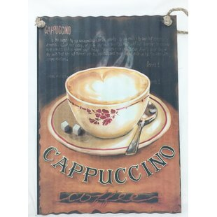 Cappuccino And Coffee Cup Graphic Art On Metal