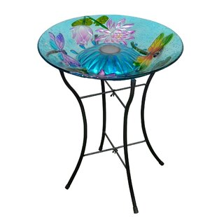 Peaktop Outdoor Garden Dragonfly Glass Birdbath