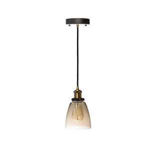 Williston Forge Julius Cognac 1-Light Bell Pendant