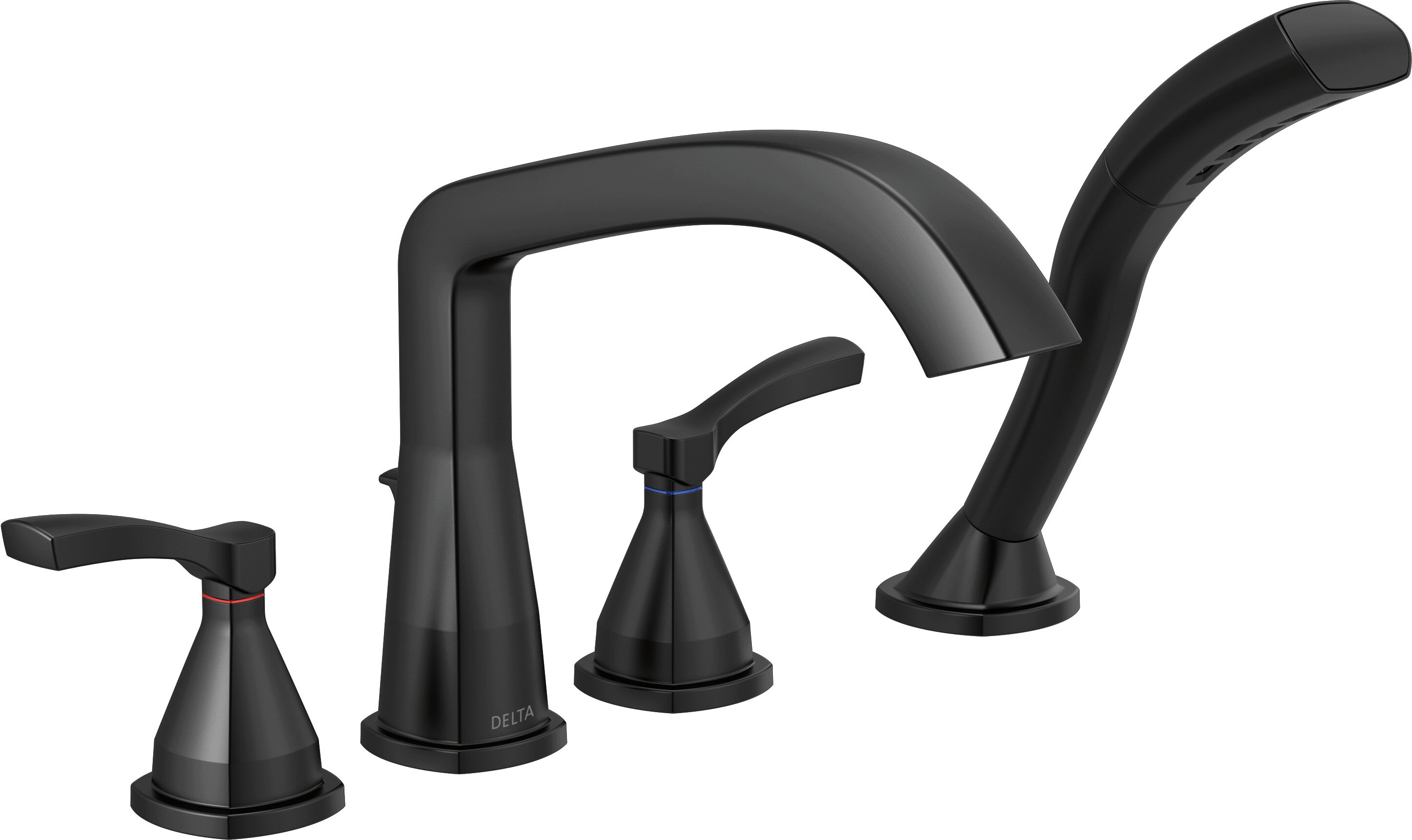 Stryke Four Hole Double Handle Deck Mounted Roman Tub Faucet Trim