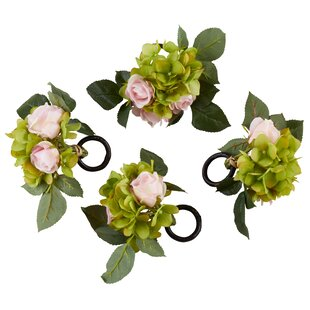 Rose and Hydrangea Napkin Ring (Set of 4)