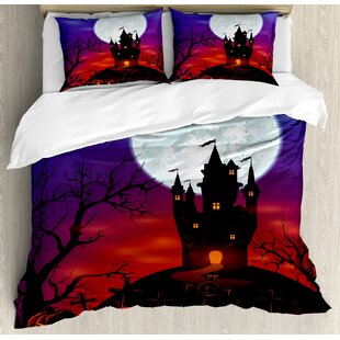 Gothic Haunted House Castle Hill Valley Night Sky October Festival Theme Duvet Cover Set