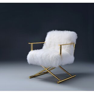 Everly Quinn Keisler Wool and Gold Brass Side Chair