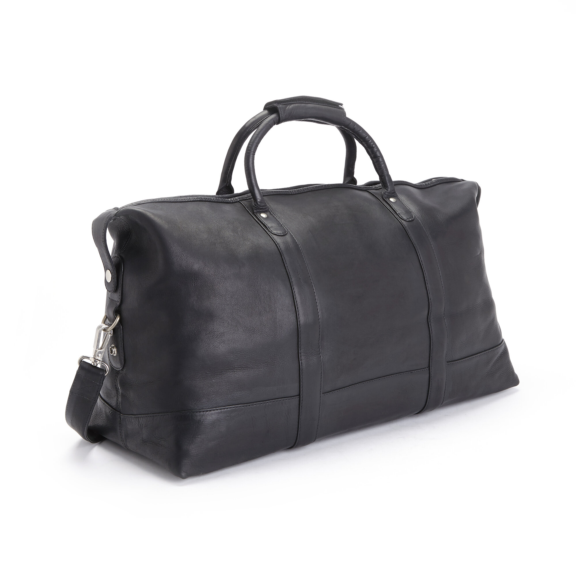 Royce Leather Luxury Overnighter Duffel Bag Luggage Handcrafted in Leather Black One Size