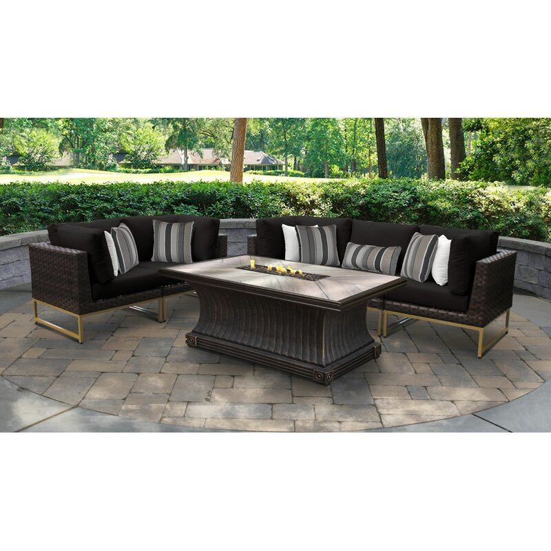 Tk Classics Barcelona 6 Piece Outdoor Wicker Patio Furniture Set 06n