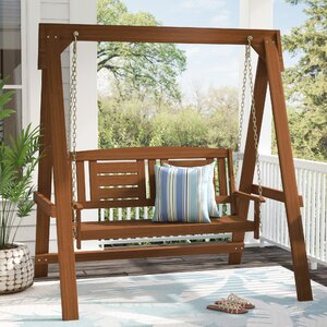 Arianna Hardwood Hanging Porch Swing with Stand