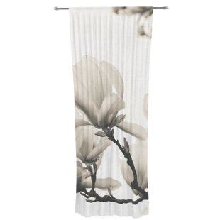 Magnolia Blossoms By Iris Lehnhardt Graphic Print Text Sheer Rod Pocket Curtain Panels Set Of 2