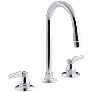 Kohler Triton Widespread Commercial Bathroom Sink Faucet with Gooseneck Spout with Vandal-Resistant Aerator and Rigid Connections, Requires Handles, Drain Not Included