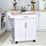 Britney Kitchen Cart with Solid Wood Top by Rosalind Wheeler