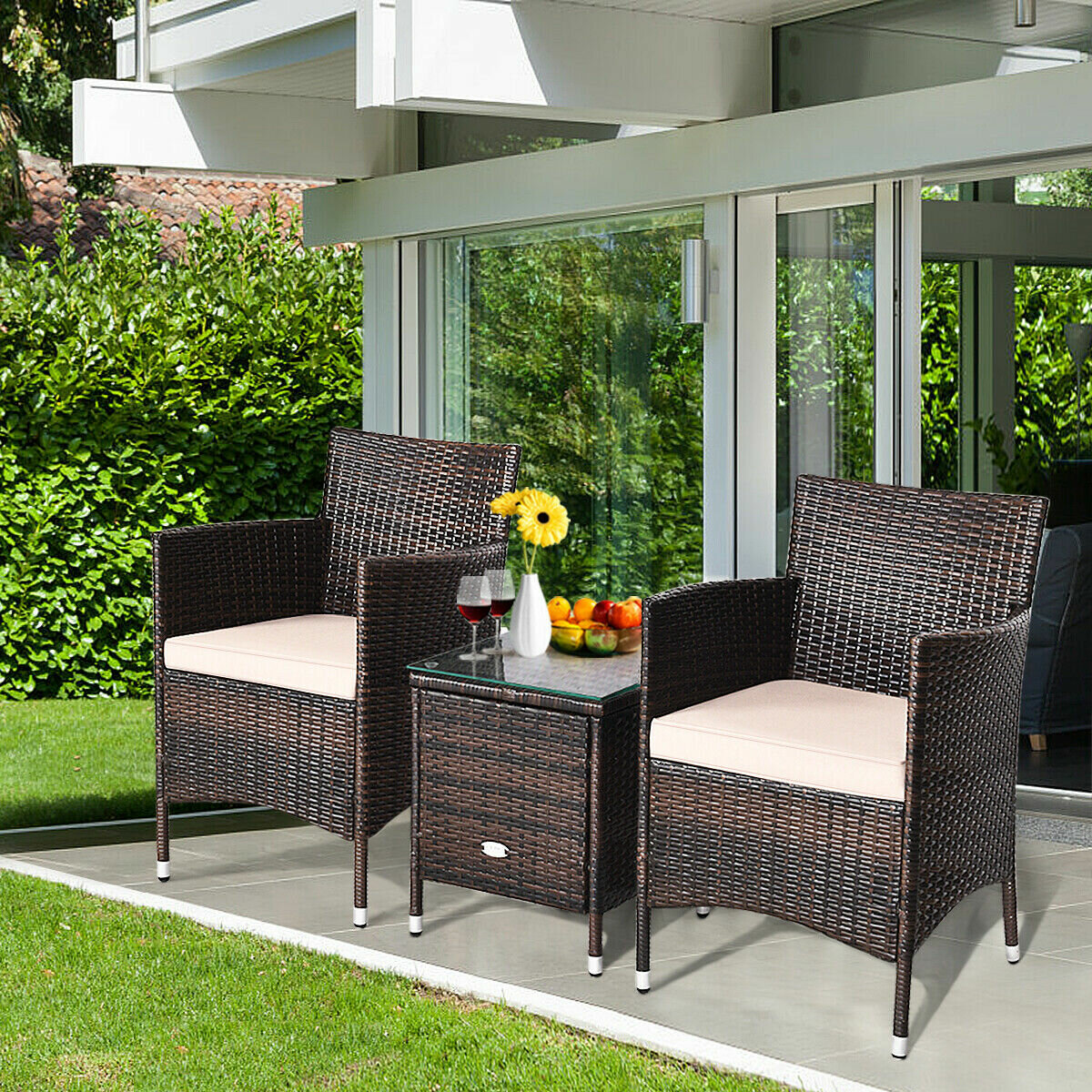 Ebern Designs Ailith 3 Piece Rattan Seating Group With Cushions Reviews Wayfair Ca