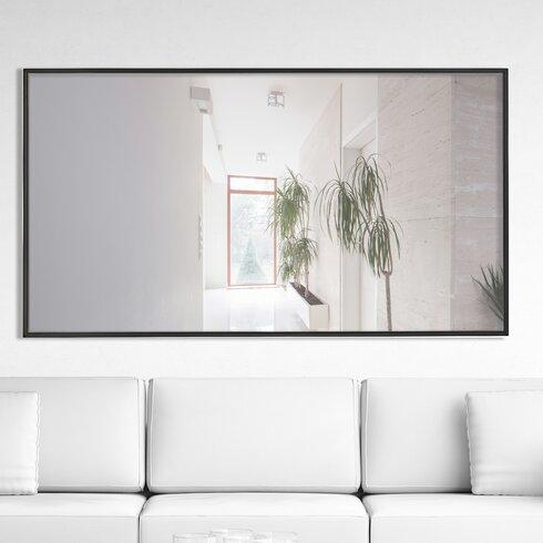 Oversized Sleek Rectangular Wood Framed Wall Mirror