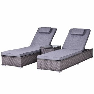 Nasiba Reclining Sun Lounger With Cushion And Table Image