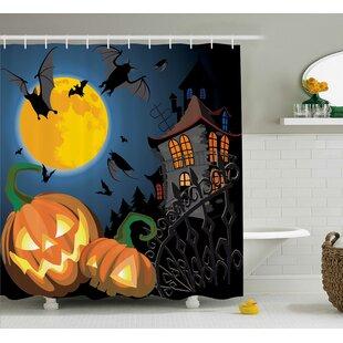 Affordable Halloween Decor Moon Pumpkin Shower Curtain ByThe Holiday Aisle