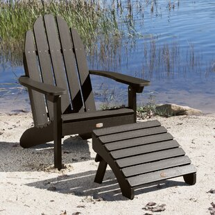 Detrick Plastic Adirondack Chair with Ottoman