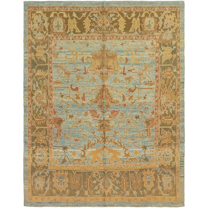 One Of A Kind Mehdi Hand Knotted 11 X 14 4 Wool Light Blue Beige Area Rug