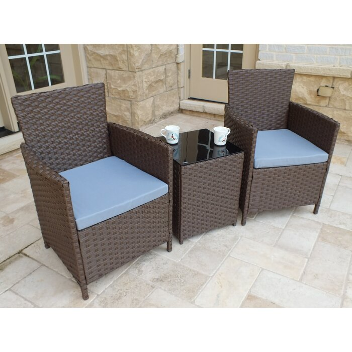Pendergast 3 Piece Rattan Seating Group with Cushions