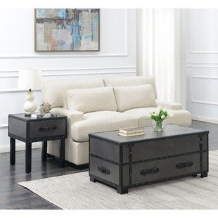 17 Stories Elijah 2 Piece Coffee Table Set in Gray