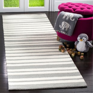 Brenner Barcode Hand-Tufted Wool Gray Area Rug