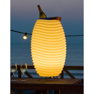 Kooduu White Battery Powered Bluetooth LED Outdoor Floor Lamp By Clifton Lighting