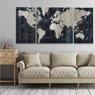 Old World Map Blue 3 Piece Graphic Art Print Set On Wred Canvas