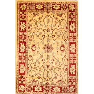 Purchase One-of-a-Kind Bovill Peshawar Pakistan Oriental Hand-Knotted 9' 3'' X 6' 2'' Wool Yellow/Gold Area Rug ByCanora Grey