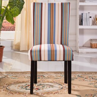 Contemporary Striped Print Pattern Upholstered Dining Chair Set of 2 by Bellasario Collection