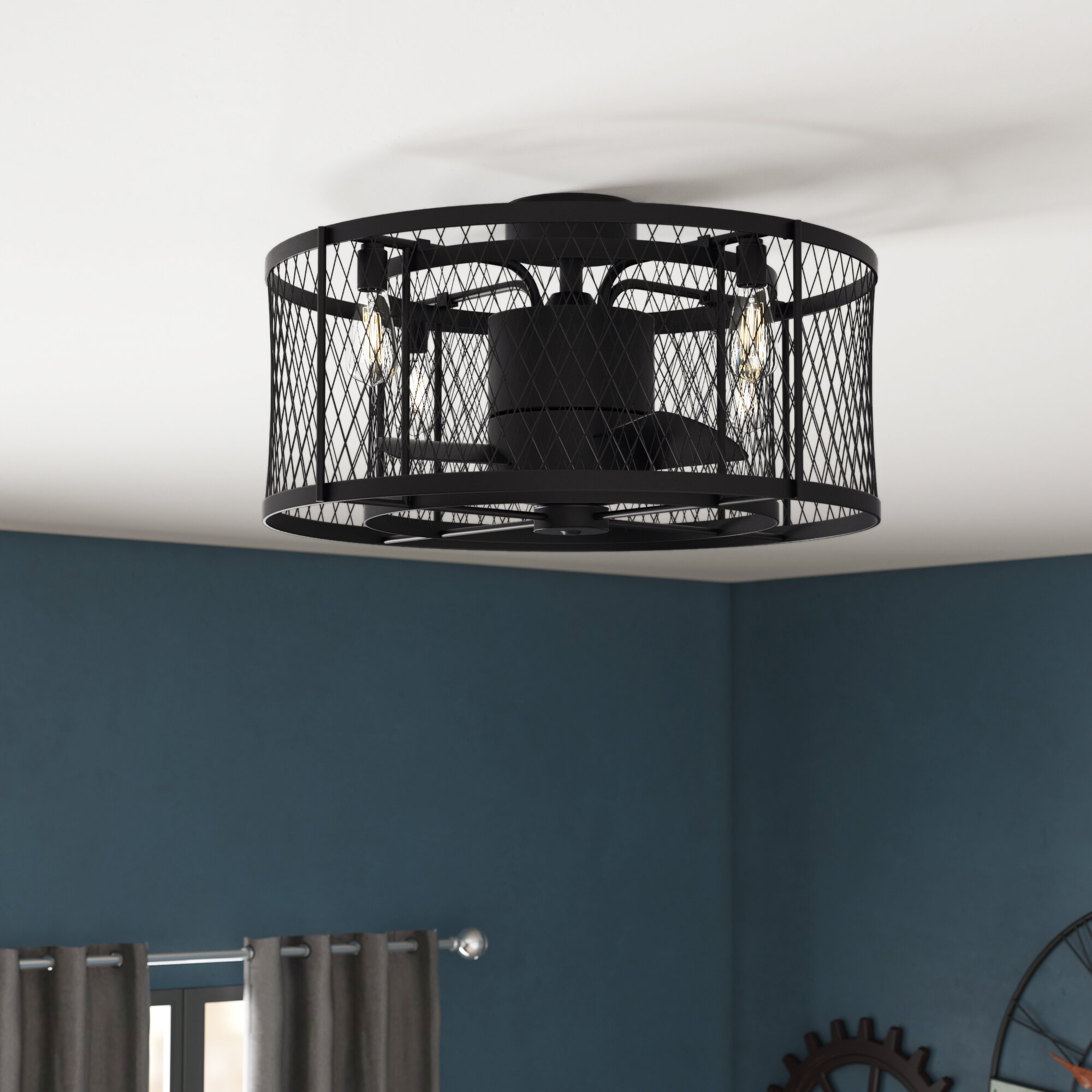 Image of: 17 Stories 13 Wright 3 Blade Caged Ceiling Fan With Remote Control And Light Kit Included Reviews Wayfair