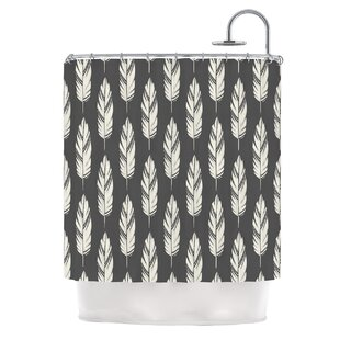 Feathers by Amanda Lane Dark Shower Curtain by East Urban Home