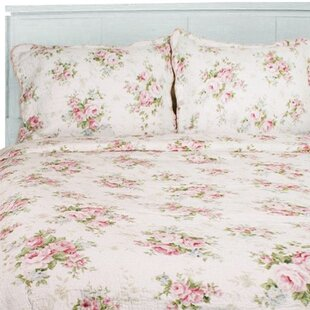 Spring Rose Cotton Reversible Quilt Set