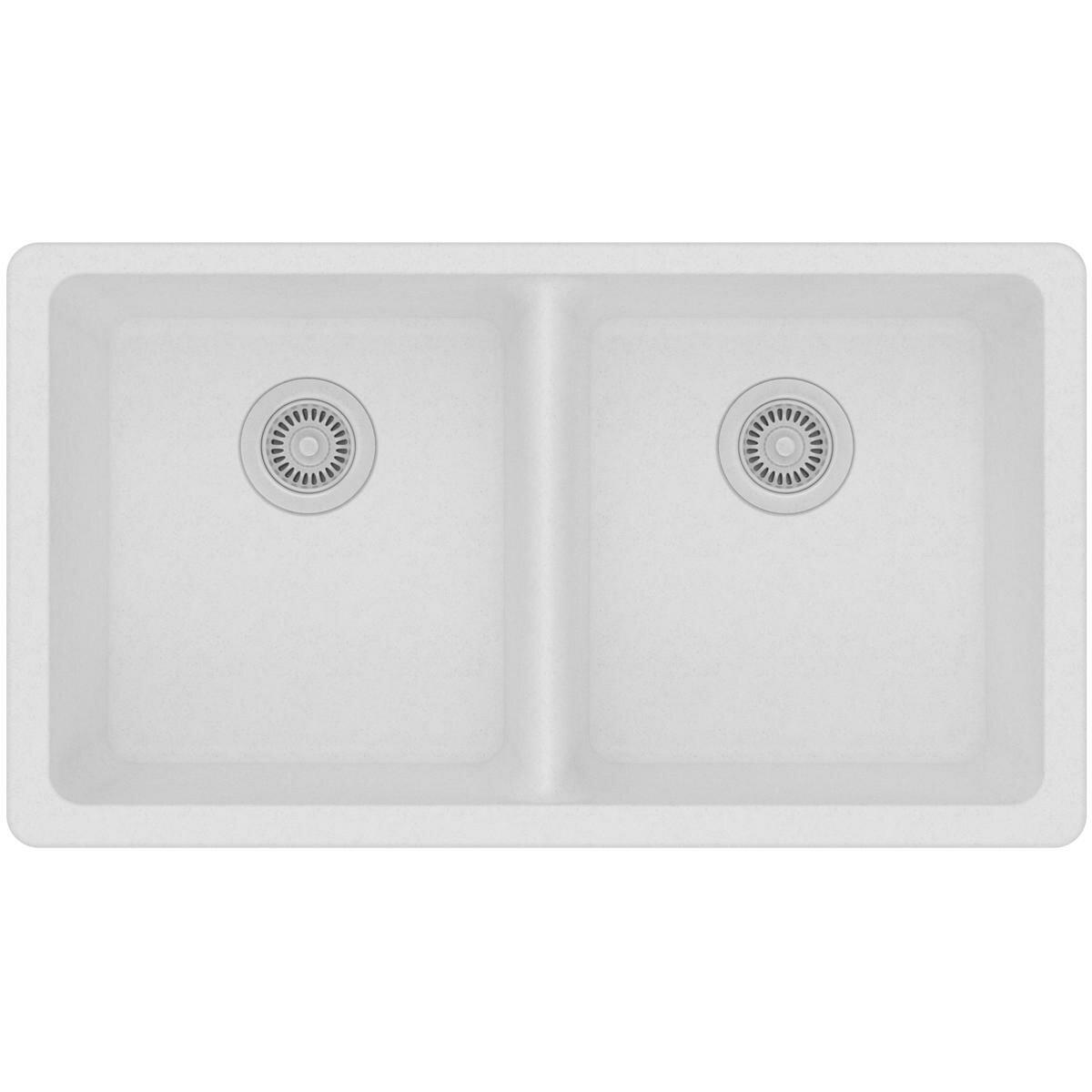 Quartz Clic 33 L X 18 5 W Double Basin Undermount Kitchen Sink