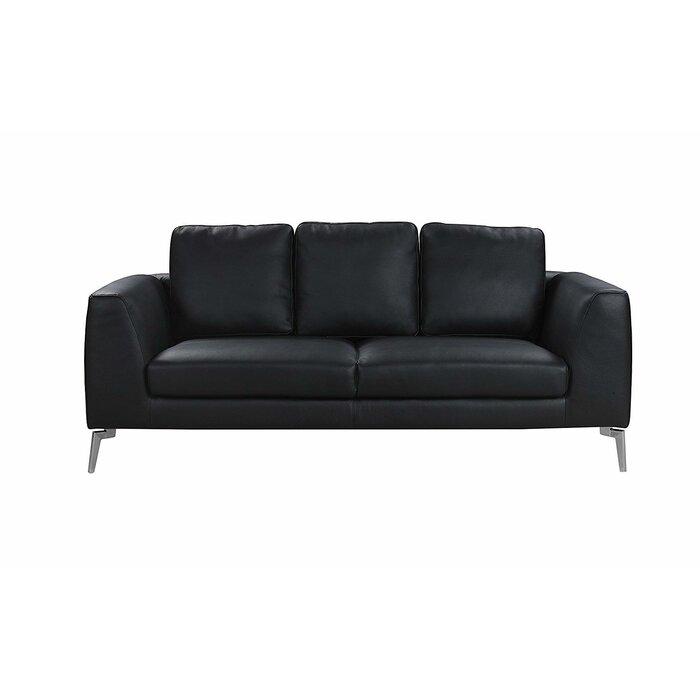 Wrayon Mid-Century Modern Plush Top Grain Leather Sofa