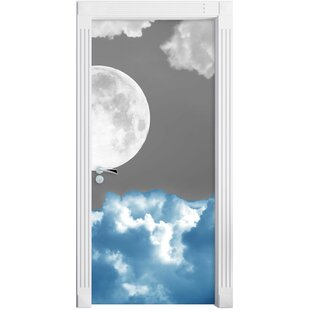 Fantastic Full Moon Over Blue Cloud Door Sticker By East Urban Home