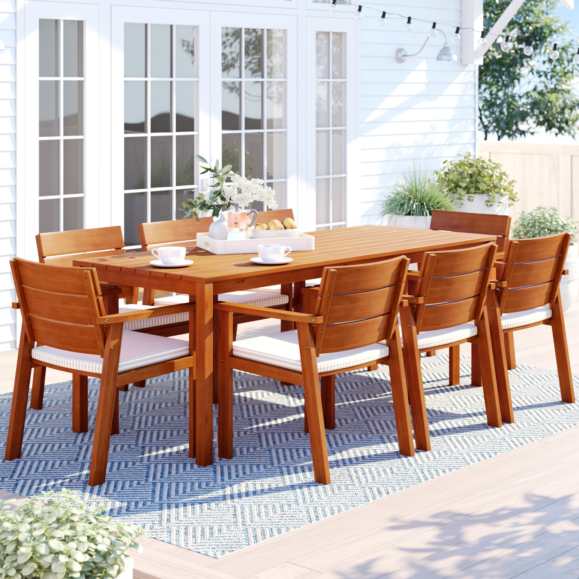 Sol 72 Outdoor Brighton 9 Piece Wood Dining Set With Cushions Reviews Wayfair