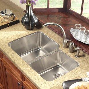 60/40 Sink   Wayfair on copper bowl sink, hammered copper farmhouse sink, 24 bathroom vanity with sink, cast iron undermount double sink, 24 x 16 sink, 70 30 undermount stainless steel sink,