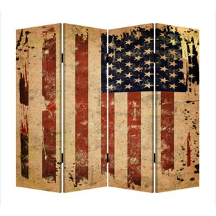 Chauntel American Flag Canvas and Wood 4 Panel Room Divider