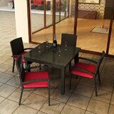 Barbados 5 Piece Dining Set with Sunbrella Cushions