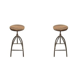 Screven Swivel Solid Wood Adjustable Height Short Stool by Williston Forge