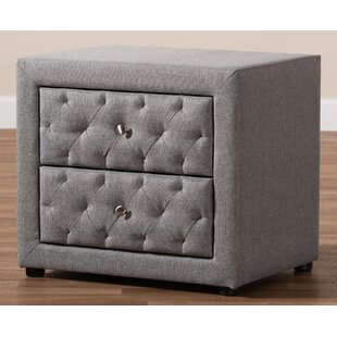 Craig Fabric Upholstered 2 Drawer Nightstand by Rosdorf Park