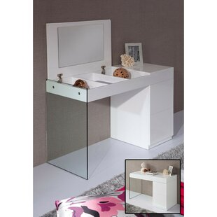Latitude Run Manolis Modern Floating Glass Wooden Vanity with Mirror