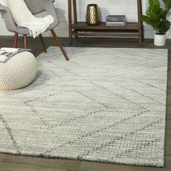 Wrought Studio Weisend Hand Woven White Gray Area Rug Wayfair