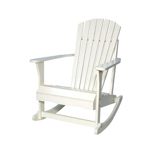 Highland Dunes Hinman Porch Solid Wood Rocking Adirondack Chair
