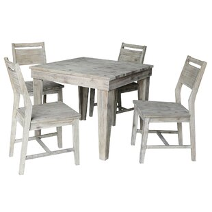 Games Modern Rustic Solid Wood 36 x 36 5 Piece Dining Set with Panelback Chairs Gracie Oaks