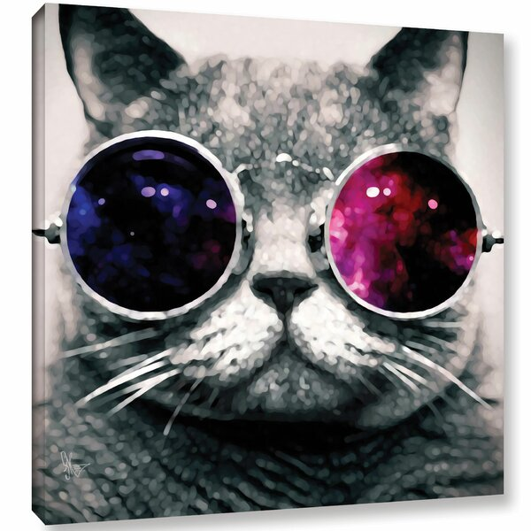 Ebern Designs Cat With Sunglasses Graphic Art On Wrapped Canvas Reviews Wayfair
