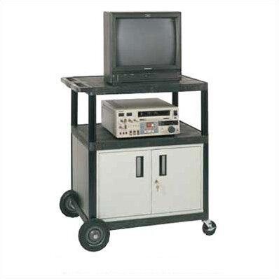 High Open Shelf Endura Video Table Av Cart With Locking Cabinet Luxor