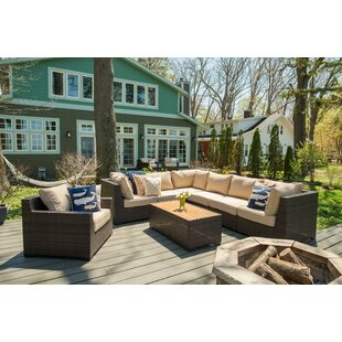 Rosecliff Heights Darden 8 Piece Rattan Sectional Seating Group with Cushions