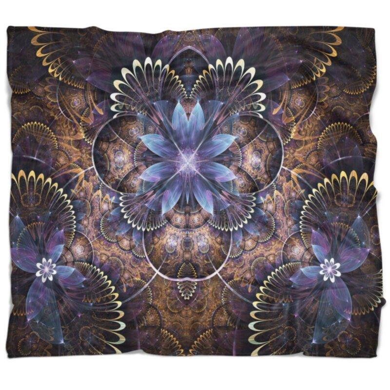 East Urban Home Floral Fractal Glossy Digital Art Blanket Wayfair